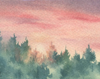 Original ACEO watercolor painting - Red dusk over woods