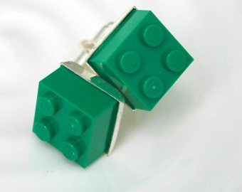 Dark Green Lego Cuff Links - Silver plated - St. Patrick's Day gift