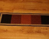 Quilted Table Runner and Four Drink Coasters in Fall Colors of Rust, Gold, Black, Tan, Cream and Brown