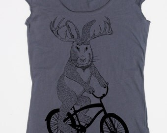 womens jackalope on a bike- American Apparel asphalt gray boat neck- available in S,M, L, XL- Worldwide Shipping