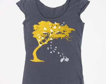 Womens birds bicycle and tree t shirt -american apparel asphalt gray boat neck- available in s,m, l, xl WorldWide Shipping