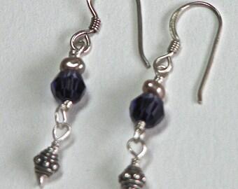 Luscious purple Swarovski & Champagne Pearl Earrings