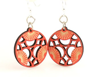 Tri Blossoms - Wood Earrings