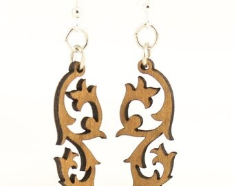 Tribal Blossom - Wood Earrings