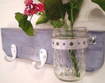 Distressed Wood Wall Hanger Mason Jar Hooks Shabby Chic / French Country-Cottage decor, Pastel, Cottage Chic, Loft Decor, Primitive Decor