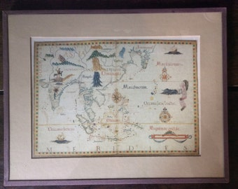 Vintage Meridies Asia India China Map Print under Glass circa 1970-80's / English Shop