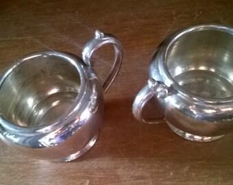 Vintage English James Dixon Sheffield EPBM heavy silver plated metal sugar bowl creamer jug pot circa 1940-50's / English Shop