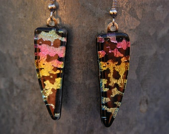Fused Dichroic Glass - Rainbow Earrings