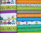 Silly Gilly Fat Quarter Bundle of 10 plus Train Panel by Leanne Anderson and Kaytlyn Anderson for Henry Glass