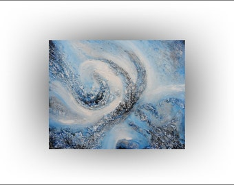 Heavy Texture Abstract Blue Painting 24 x 30 -out of the blue