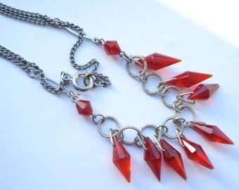 Art Deco Necklace Red Glass Drops 1920's 1930's