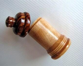 Stash Bottle wood herb storage container pipe needle storage lidded box woodturning meidine bottle