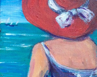 """Woman in Red Hat Painting Woman on a Beach  original art 4 x 6"""""""