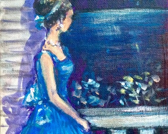 """Woman in Blue by the window ,lady by the sea,girl in blue dress,night painting original art 7 x 5"""""""