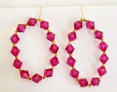 Valentine's Day Gift Sale, Large Hoop Earrings, Fuchsia Crystals, Gold Filled Wire, tem No. S 075