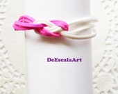 Knot Bracelet, White & Fuchsia Color,  Accessory, Magnetic Clasp, Hand Made in The USA, Item No.De105