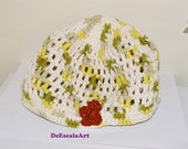 Spring Hat/Beanie, Natural Colors, Floral Crochet Hat, Spring Accessory, Hand Made in the USA