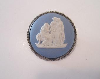 Vintage Wedgwood Blue Jasperware Sterling Silver Brooch Pin, Dress pin, Shawl pin