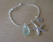 Real Sea Glass Bracelet with Starfish and Hand Stamped Initial