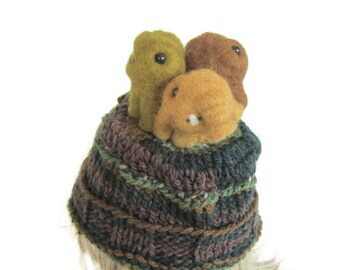 Trio Monster hat, needle felted monsters on a knit hat, needle felted miniatures