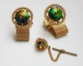 Vintage Watermelon Rivoli Cuff Links and Tie Tack Set