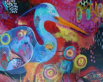 Heron  and Fish Fine Art Print - Mixed Media