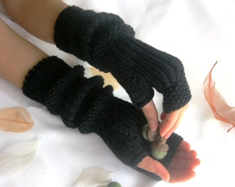 BLACK  LONG Fingerless Gloves, Merino Wool Mittens, Arm Warmers , Hand Knitted, Eco Friendly