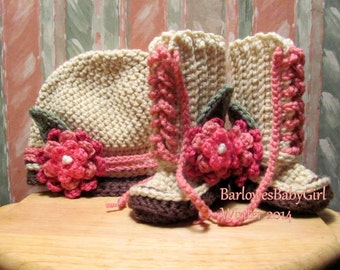 NEW Buggs -  Crochet Baby Lace Up Booties and Hat w/ Detachable Mixed Pinks Three Tier Flower w/ Leaf