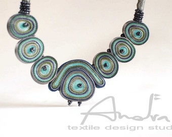 Statement necklace blue, textile necklace turquoise - Handmade textile jewelry OOAK for order