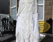 RESERVED for Megan Cream OOAK Doily Dress Wedding Bridesmaid Beach Tattered Boho Magnolia