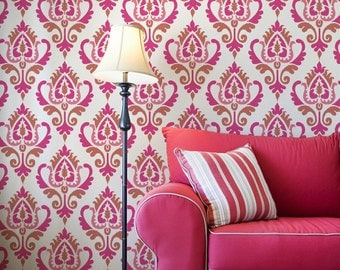 Anika Ikat Damask Wall Stencil  for Easy DIY Wallpaper Decor