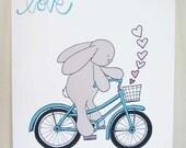 Turquoise and Grey Rabbit on a Bicycle, Art Print, Kono on a Bike, Love, Nursery Art