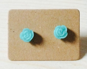 Adorable tiny aqua rose earrings
