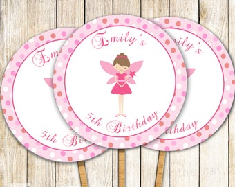 Fairy Cupcake Topper - Pink Pixie Birthday Party Decoration or Baby Girl Shower Printable Personalized