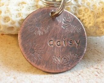 Pet Id Tag-Dog ID Tag-The Daisy Tag- ID Tag for Small or Medium Dog-Cat ID Tag