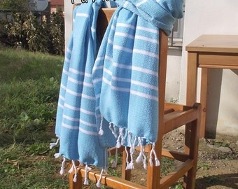 Turkishtowel-Hand woven,medium weight,very soft,heart pattern,Turkish Bath,Beach Towel-Weft is Turquoise and White stripes