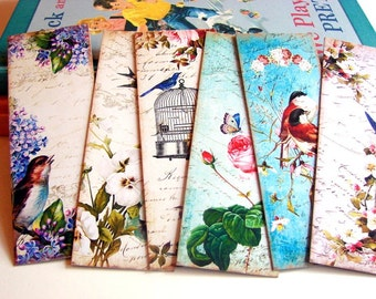 Bookmarks - Vintage Shabby Chic Garden Flowers And Birds Butterfly Birdcage Swallow In Flight Roses - Set Of 6 Small Paper Bookmarks