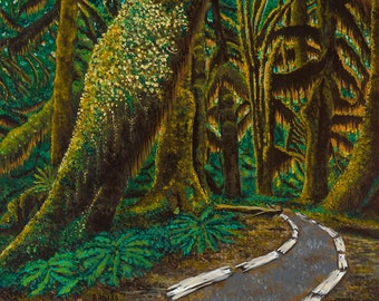 Hoh Rainforest Painting Pacific Northwest Art Print Green Forest Path Mossy Grove Sitka Spruce Tree Lichen Olympic Peninsula Washington