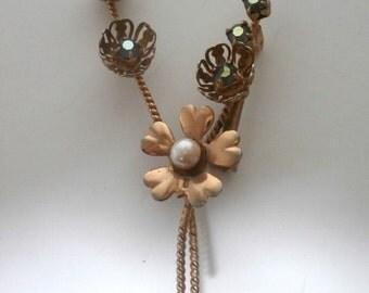 Vtg Bohemian Crystal Flower  Pin Brooch