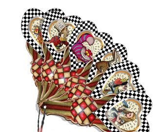 Alice in wonderland tea party  fan card collage sheets DIY great for tea time