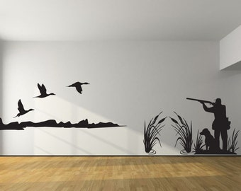 Beautiful Pintail Duck Hunting Wall Decal  Large Hunter And Dog Duck Hunting  Boy  Girl Nursery Part 23