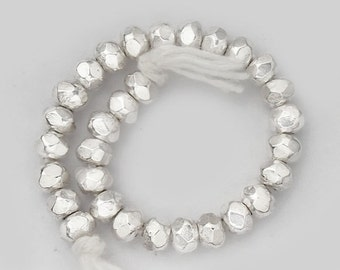 20 of Karen Hill Tribe Silver Faceted Seed Beads 4x2.5 mm. :ka3031