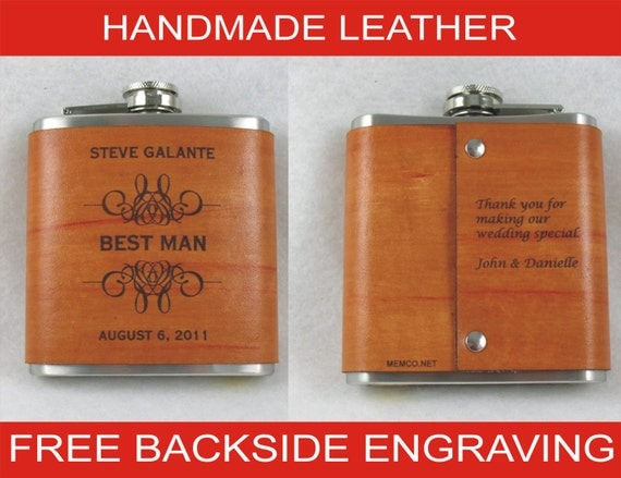 Set of 8 Groomsmen Flasks with Hand Dyed Engraved Leather Wrap - FREE Backside Engraving!