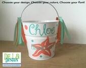 Personalized Flower Girl basket, 2 quart metal bucket, Beach wedding, starfish design, Easter, baby gift or trick or treat Halloween bucket