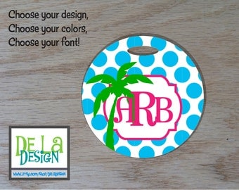 "Personalized luggage bag tag, 4"" round, name or monogram, address, Tropical vacation palm tree choose colors, patterns, backpack, sport bag"