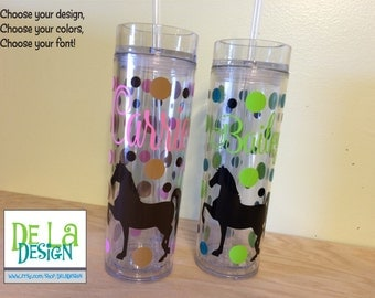 Horse design Personalized w/name acrylic tumbler, polka dots, Available in skinny, standard, sport bottle, mason, kiddie cup & XL cup