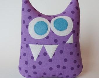 Tooth Fairy Pillow - Personalized Monster - Purple Dots with Turquoise Eyes