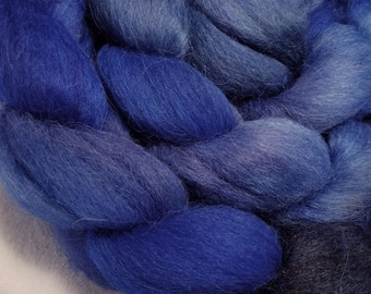 Handpainted Alpaca Roving - 4 oz - Sapphire, Navy, Royal and Periwinkle