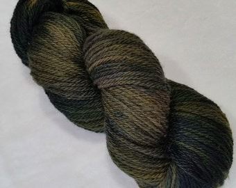 Corriedale-Silk 3 Ply- 80/20 Yarn Hand Dyed in shades of Green and Blue