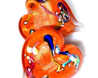Pretty Orange Heart Paperweight-Valentines Day - Hand Formed Glass - Made in Seattle - Artist Dehanna Jones
